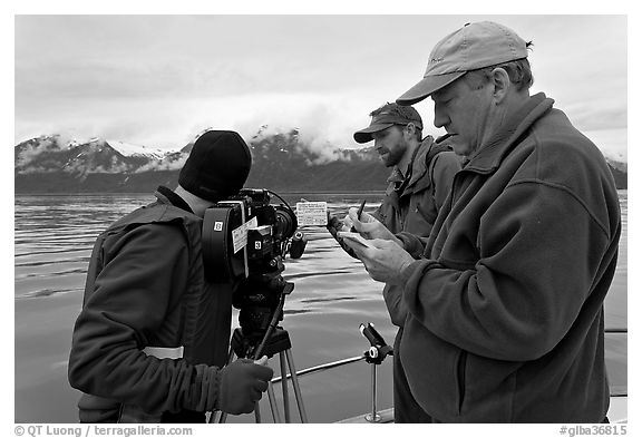 Team begins filming a movie sequence. Glacier Bay National Park (black and white)