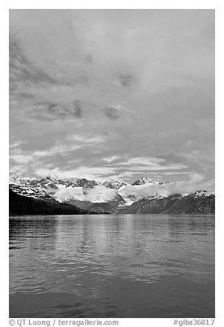 Fairweather range with clearing clouds. Glacier Bay National Park (black and white)