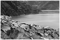 Lamplugh glacier and turquoise bay waters. Glacier Bay National Park ( black and white)