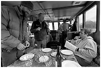 Appetizer served in the main cabin of the Kahsteen. Glacier Bay National Park, Alaska, USA. (black and white)