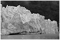 Front of Margerie Glacier against dark mountainside. Glacier Bay National Park, Alaska, USA. (black and white)