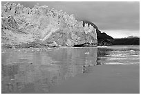 Margerie Glacier reflected in Tarr Inlet. Glacier Bay National Park, Alaska, USA. (black and white)