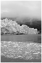 Icebergs, Margerie Glacier, and fog. Glacier Bay National Park, Alaska, USA. (black and white)
