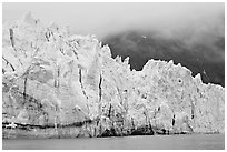 Front of Margerie Glacier in foggy weather. Glacier Bay National Park, Alaska, USA. (black and white)