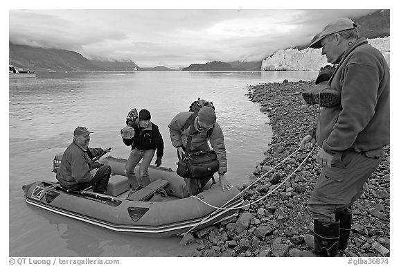 Film crew lands near Margerie Glacier. Glacier Bay National Park (black and white)