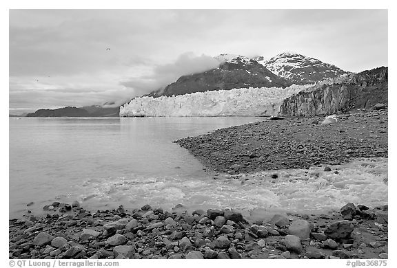 Stream flowing into Tarr Inlet, and Margerie Glacier. Glacier Bay National Park (black and white)