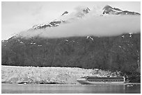 Cruise ship, Margerie Glacier, and Mt Forde. Glacier Bay National Park, Alaska, USA. (black and white)