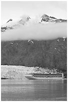 Cruise ship and Margerie Glacier at the base of Mt Forde. Glacier Bay National Park, Alaska, USA. (black and white)