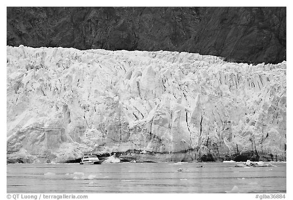 Small tour boat dwarfed by Margerie Glacier. Glacier Bay National Park (black and white)