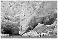People at the base of Reid Glacier. Glacier Bay National Park ( black and white)
