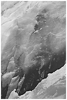 Ice wall detail, Reid Glacier. Glacier Bay National Park, Alaska, USA. (black and white)