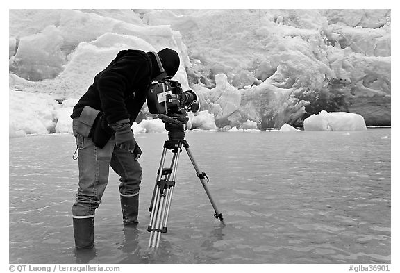 Cameraman standing in water at the base of Reid Glacier. Glacier Bay National Park (black and white)