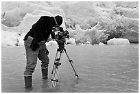 Cameraman standing in water at the base of Reid Glacier. Glacier Bay National Park, Alaska, USA. (black and white)