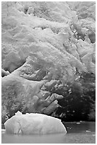 Iceberg and ice cave at the base of Reid Glacier. Glacier Bay National Park, Alaska, USA. (black and white)