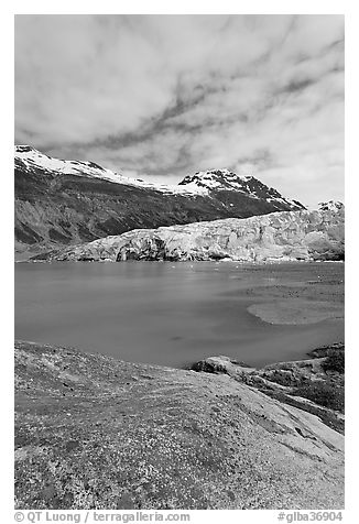 Reid Inlet and Reid Glacier terminus. Glacier Bay National Park (black and white)