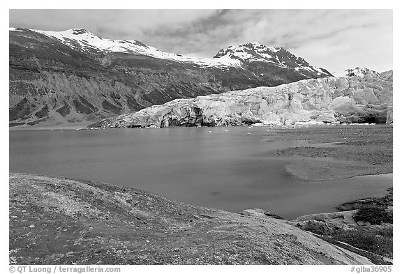 Reid Inlet and Reid Glacier. Glacier Bay National Park (black and white)