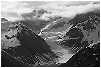 Topeka Glacier, late afternoon. Glacier Bay National Park ( black and white)