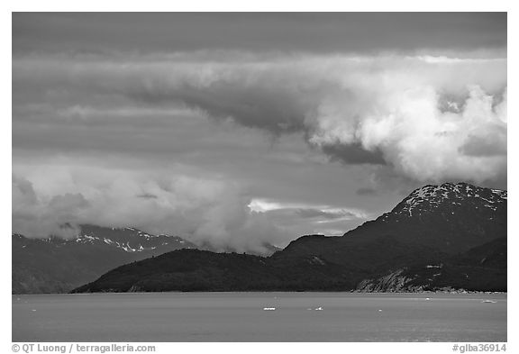 Storm clouds over the bay, West Arm. Glacier Bay National Park (black and white)