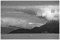 Storm clouds over the bay, West Arm. Glacier Bay National Park, Alaska, USA. (black and white)