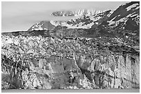 Ice face of Lamplugh glacier. Glacier Bay National Park, Alaska, USA. (black and white)