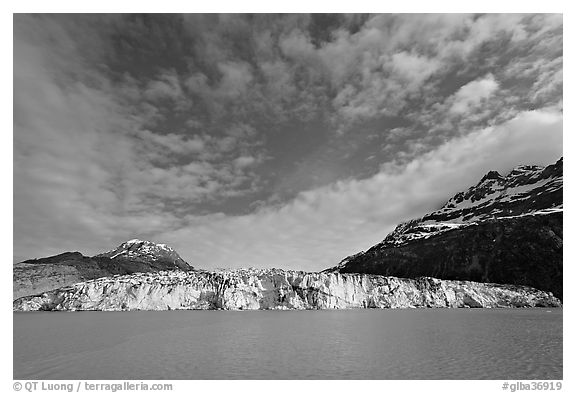 Wide face of Lamplugh glacier. Glacier Bay National Park (black and white)