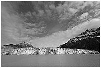 Wide face of Lamplugh glacier. Glacier Bay National Park, Alaska, USA. (black and white)