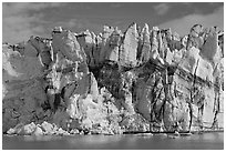 Seracs on the face of Lamplugh glacier. Glacier Bay National Park, Alaska, USA. (black and white)