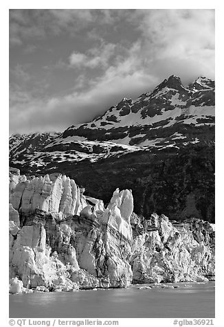 Seracs on the face of Lamplugh glacier and Mount Cooper. Glacier Bay National Park (black and white)