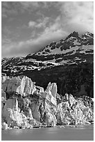 Seracs on the face of Lamplugh glacier and Mount Cooper. Glacier Bay National Park, Alaska, USA. (black and white)