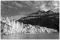 Lamplugh glacier and Mt Cooper, late afternoon. Glacier Bay National Park, Alaska, USA. (black and white)