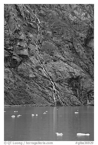 Waterfall, Tarr Inlet. Glacier Bay National Park (black and white)