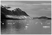 Tarr Inlet and icebergs with the last light of sunset. Glacier Bay National Park, Alaska, USA. (black and white)