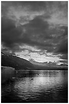 Margerie Glacier, Mount Eliza and Tarr Inlet at sunset. Glacier Bay National Park, Alaska, USA. (black and white)