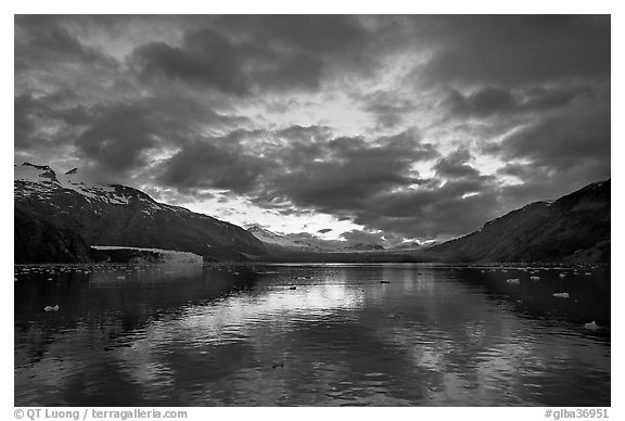 Mount Forde, Margerie Glacier, Mount Eliza, Grand Pacific Glacier, and Tarr Inlet, cloudy sunset. Glacier Bay National Park (black and white)