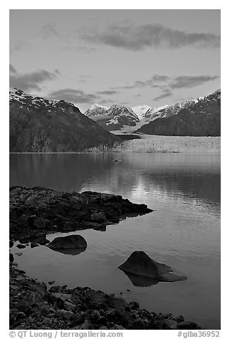 Mount Fairweather and Margerie Glacier seen across the Tarr Inlet. Glacier Bay National Park (black and white)