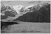 Mount Fairweather and Margerie Glacier, sunrise. Glacier Bay National Park, Alaska, USA. (black and white)