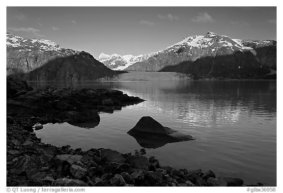 Mount Fairweather, Margerie Glacier, Mount Forde, and cove. Glacier Bay National Park (black and white)