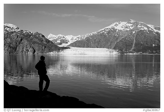 Black And White Picture Photo Man In Silhouette Looking At Tarr Inlet Fairweather Range Margerie Glacier Bay National Park