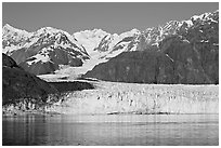 Margerie Glacier flowing from Mount Fairweather into Tarr Inlet. Glacier Bay National Park, Alaska, USA. (black and white)