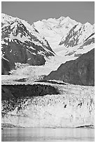 Margerie Glacier flows from Mount Fairweather, early morning. Glacier Bay National Park, Alaska, USA. (black and white)