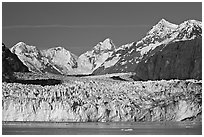 Margerie Glacier and Fairweather range. Glacier Bay National Park, Alaska, USA. (black and white)