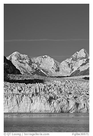 Front of Margerie Glacier and Fairweather range. Glacier Bay National Park (black and white)