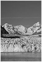 Front of Margerie Glacier and Fairweather range. Glacier Bay National Park, Alaska, USA. (black and white)