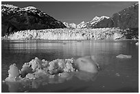 Iceberg, wide front of Margerie Glacier and Fairweather range. Glacier Bay National Park, Alaska, USA. (black and white)