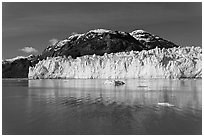 Wide front of Margerie Glacier and Tarr Inlet. Glacier Bay National Park, Alaska, USA. (black and white)