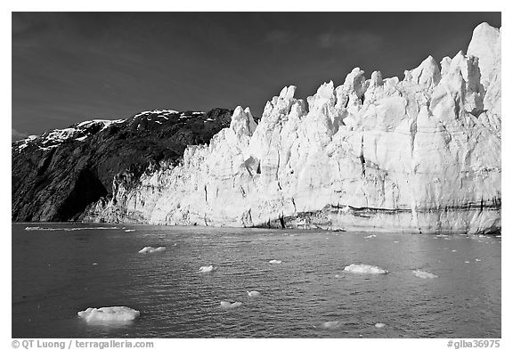 Face of Margerie Glacier on a sunny morning. Glacier Bay National Park (black and white)