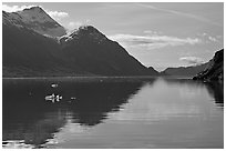 View looking out Tarr Inlet in the morning. Glacier Bay National Park, Alaska, USA. (black and white)