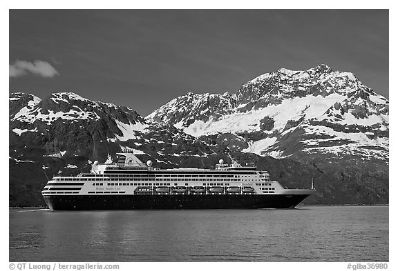 Cruise ship and snowy peaks. Glacier Bay National Park (black and white)