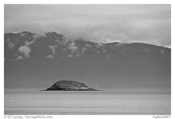Green Island in blue seascape. Glacier Bay National Park (black and white)