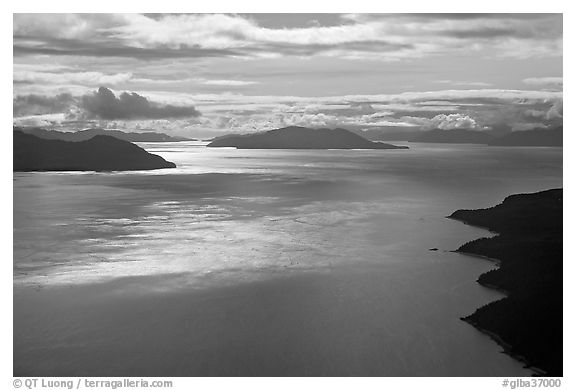Aerial view of Sitakaday Narrows, late afternoon. Glacier Bay National Park (black and white)